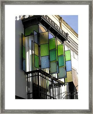 Blue-green-gold Windows In Cordoba Framed Print by Jacqueline M Lewis