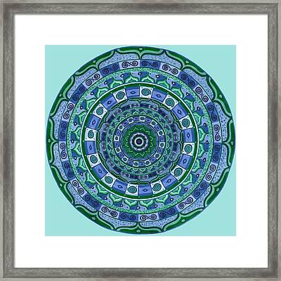 Blue Green Mandala Framed Print by Vlatka Kelc