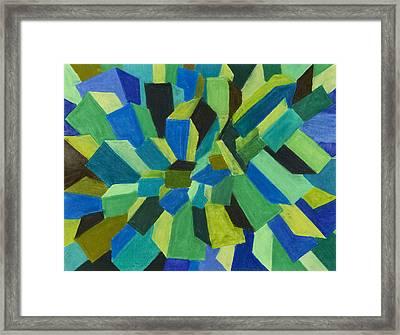 Blue Green Pastel Framed Print by Sean Corcoran