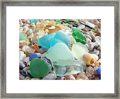 Blue Green Sea Glass Beach Coastal Seaglass Framed Print by Baslee Troutman