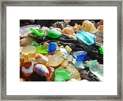 Blue Green Seaglass Art Prinst Agates Shells Framed Print