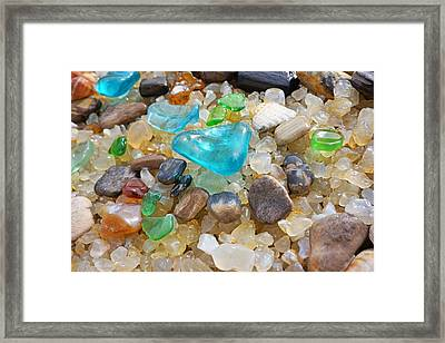 Blue Green Seaglass Coastal Beach Baslee Troutman Framed Print