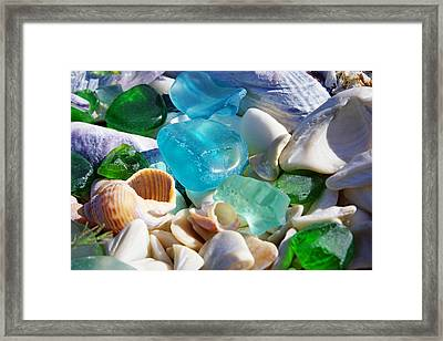 Blue Green Seaglass Shells Coastal Beach Framed Print