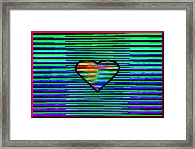 Blue Green Valentine Framed Print by L Brown