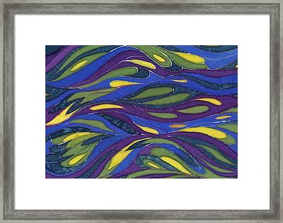 Blue Green Yellow  Abstract Silk Design Framed Print by Sharon Freeman