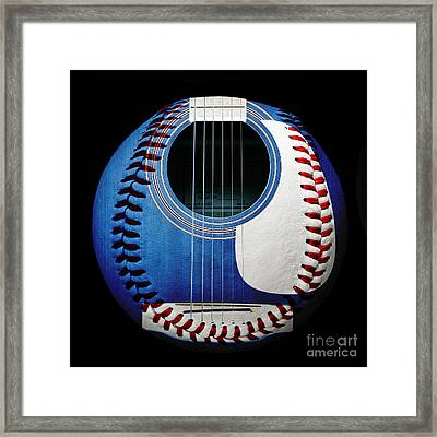 Blue Guitar Baseball Square Framed Print by Andee Design