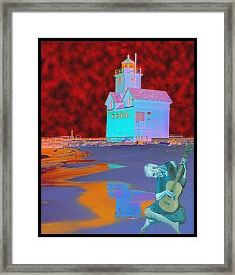 Blue Guitarist At Big Blue Framed Print