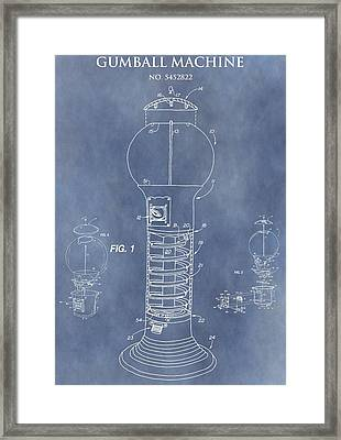 Blue Gumball Machine Patent Framed Print