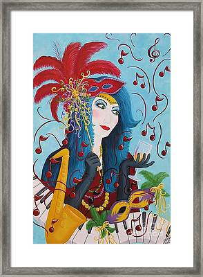 Blue Haired Lady Framed Print