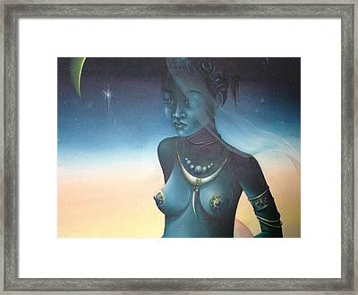 Framed Print featuring the painting Blue Haitian Woman by Jean Pierre