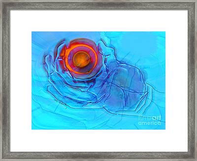 Blue Hand Framed Print