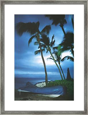 Blue Hawaii With Planets At Night Framed Print by Connie Fox