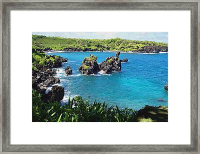 Blue Hawaiian Lagoon Near Blacksand Beach On Maui Framed Print by Amy McDaniel