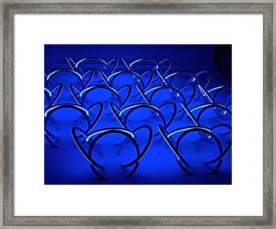 Blue Haze Circles Framed Print by Joan Reese