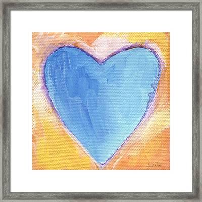 Blue Heart Framed Print by Linda Woods