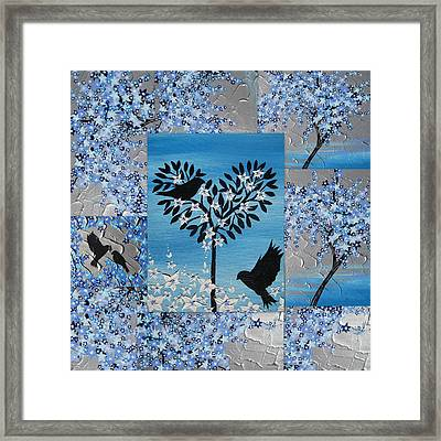 Blue Heart Tree Framed Print by Cathy Jacobs