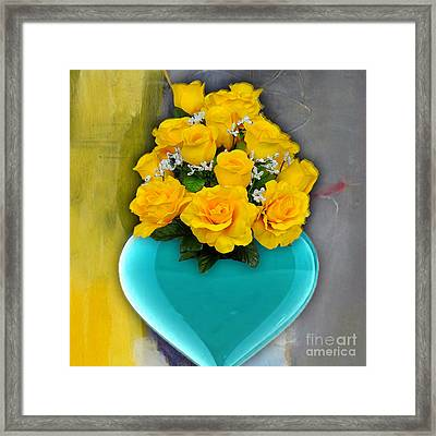 Blue Heart Vase With Yellow Roses Framed Print by Marvin Blaine