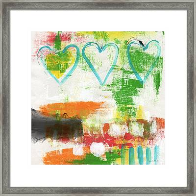Blue Hearts- Abstract Painting Framed Print by Linda Woods