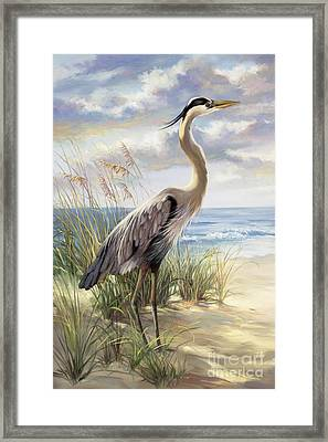 Blue Heron Deux Framed Print by Laurie Hein