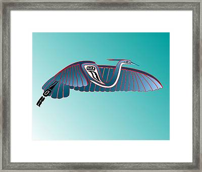 Blue Heron Flight Framed Print