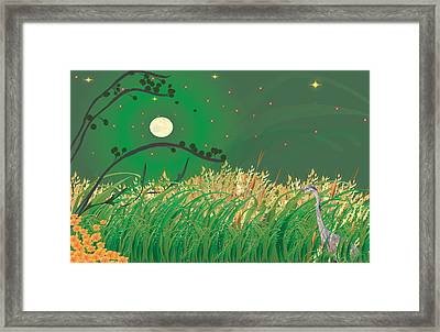 Blue Heron Grasses Framed Print by Kim Prowse