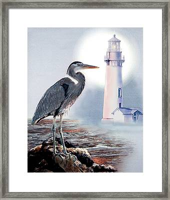 Blue Heron In The Circle Of Light Framed Print by Regina Femrite