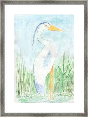 Blue Heron In The Tules Framed Print