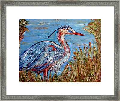 Framed Print featuring the painting Blue Heron by Jeanne Forsythe