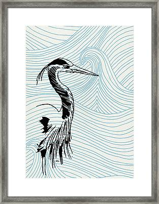 Blue Heron On Waves Framed Print