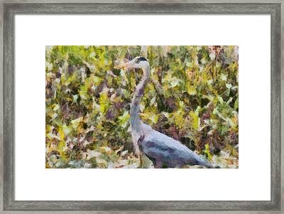 Blue Heron Painting Framed Print