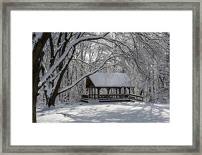 Blue Heron Park After Snowfall Framed Print by Kenneth Cole