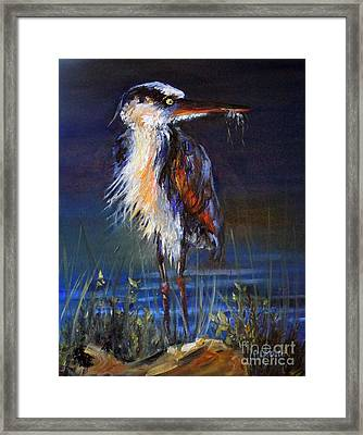 Framed Print featuring the painting Blue Heron by Priti Lathia