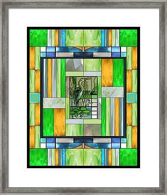 Blue Heron Stained Glass Framed Print by Ellen Henneke