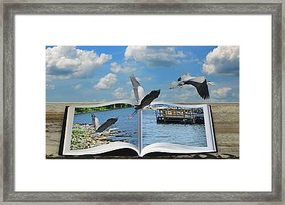 Blue Heron Storybook Framed Print by Steven Michael