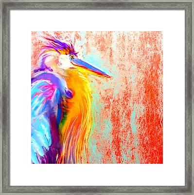 Funky Blue Heron Bird Framed Print