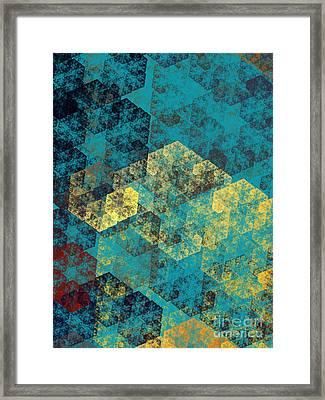 Blue Hexagon Fractal Art 2 Of 3 Framed Print