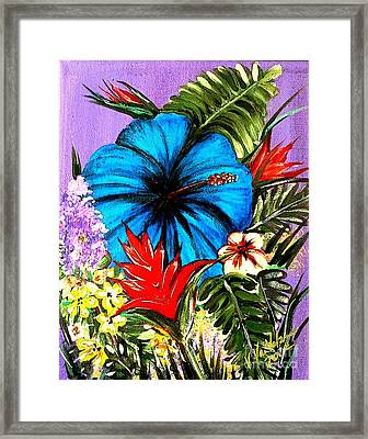 Blue Hibiscus Framed Print by Valarie Pacheco