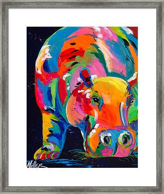 Blue Hippo Framed Print by Tracy Miller
