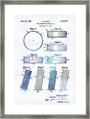 Blue Hockey Art - Hockey Puck Patent - Sharon Cummings Framed Print