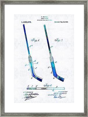 Blue Hockey Stick Art Patent - Sharon Cummings Framed Print by Sharon Cummings