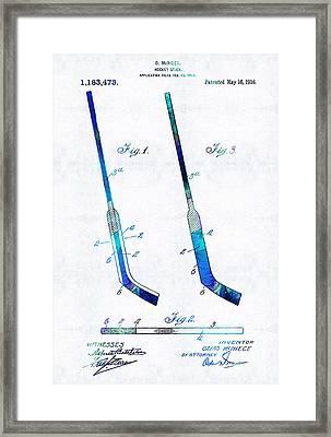 Blue Hockey Stick Art Patent - Sharon Cummings Framed Print