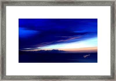 Blue Horizon Dawn Over Sea Framed Print