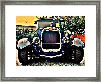 Blue Hot Rod Framed Print by Stanley  Funk