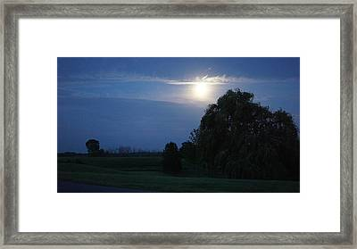 Blue Hour And The Country Moon Framed Print by Rosemarie E Seppala