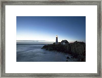 Blue Hour At Portland Head Framed Print by Eric Gendron