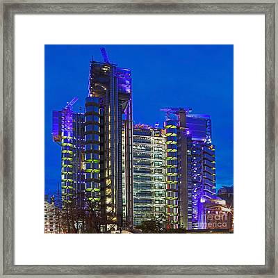 Blue Hour At The Lloyds Building Framed Print by Pete Reynolds