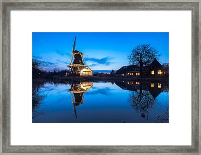 Blue Hour At Windmill Fram Framed Print by Ron Buist