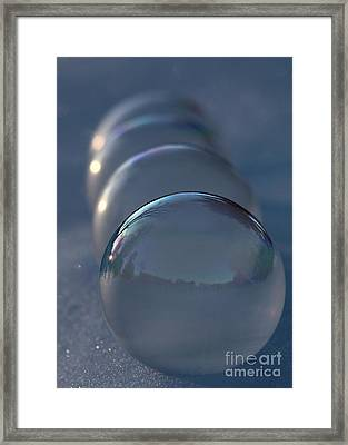 Blue Hour Frozen Bubbles Framed Print