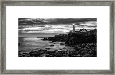 Blue Hour In Black And White Portland Head Light Framed Print by Jeff Sinon