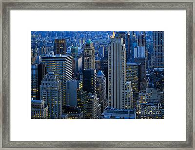 Blue Hour In New York City Usa Framed Print